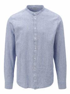 Modrá pruhovaná regular fit košeľa bez goliera Casual Friday by Blend