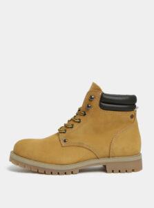 Horčicové pánske kožené členkové topánky Jack & Jones Stoke
