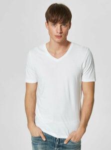 Biele basic tričko s véčkovým výstrihom Selected Homme