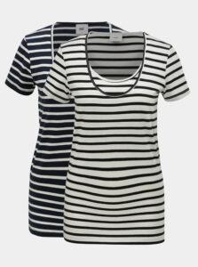 Balenie dvoch basic tričiek v bielej a modrej farbe na dojčenie Mama.licious Lea