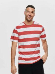 Bielo–červené pruhované basic tričko ONLY & SONS Patterson
