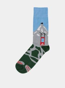 Modro-zelené ponožky s motívom hôr Fusakle Lomničák