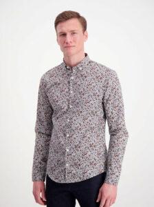 Šedá kvetovaná slim fit košeľa Lindbergh