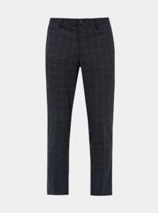 Tmavomodré kockované slim fit nohavice Selected Homme Kent
