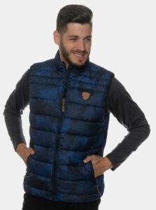 Tmavomodrá pánska vzorovaná prešívaná vesta SAM 73