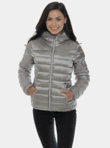 Šedá dámska metalická prešívaná zimná bunda SAM 73