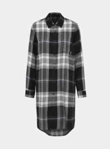 Šedá kockovaná flanelová nočná košeľa DKNY