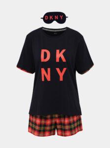 Sada dvojdielneho pyžama a škrabošky v červeno-modrej farbe DKNY