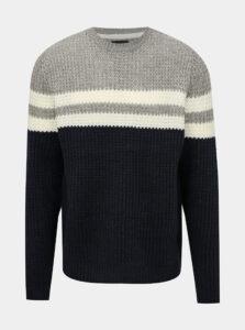 Šedo-modrý pruhovaný sveter ONLY & SONS Lazlo