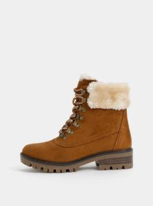 Hnedé členkové zimné topánky v semišovej úprave s umelým kožúškom Dorothy Perkins