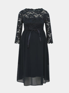 Tmavomodré tehotenské šaty s krajkou Mama.licious Mivana