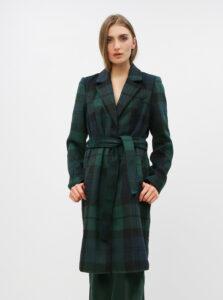 Tmavozelený kockovaný kabát VERO MODA Cindy