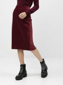 Vínová menčestrová sukňa VERO MODA Amanda