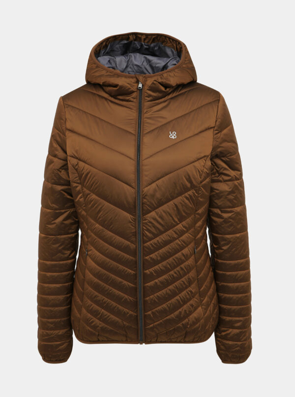 Hnedá dámska prešívaná vodeodpudivá zimná bunda LOAP Idiana