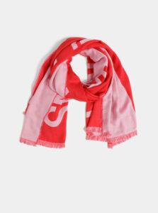 Červeno-ružová vzorovaná maxi šatka Calvin Klein Jeans