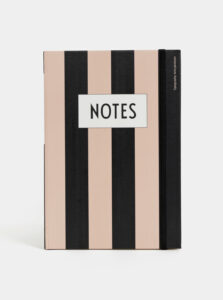 Čierno-ružový pruhovaný zápisník Design Letters Notes A5