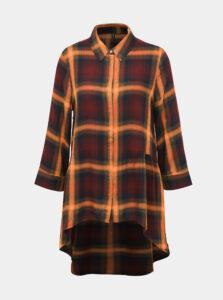 Oranžovo-vínová kockovaná predĺžená košeľa ONLY Canberra