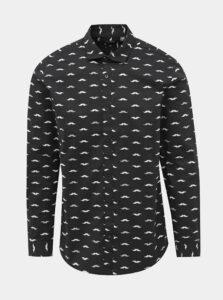Čierna vzorovaná slim fit košeľa ONLY & SONS France