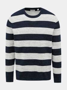 Šedo-modrý pruhovaný basic sveter ONLY & SONS Caleb