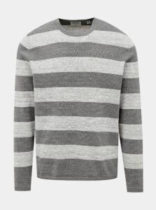 Šedý pruhovaný basic sveter ONLY & SONS Caleb