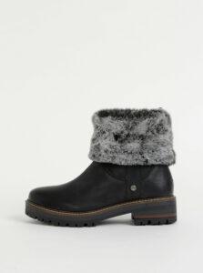 Čierne dámske kožené členkové topánky Wrangler