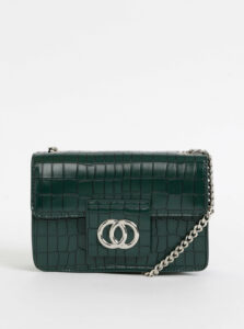 Tmavozelená kabelka s krokodýlím vzorom Pieces Jukari