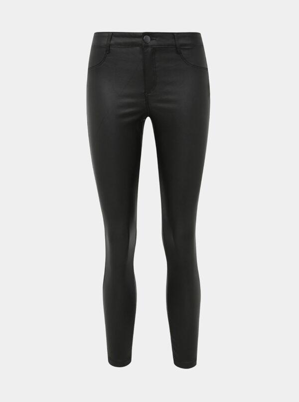 Čierne super skinny fit nohavice s povrchovou úpravou Dorothy Perkins Petite