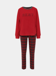 Červené fleecové dvojdielne pyžamo DKNY