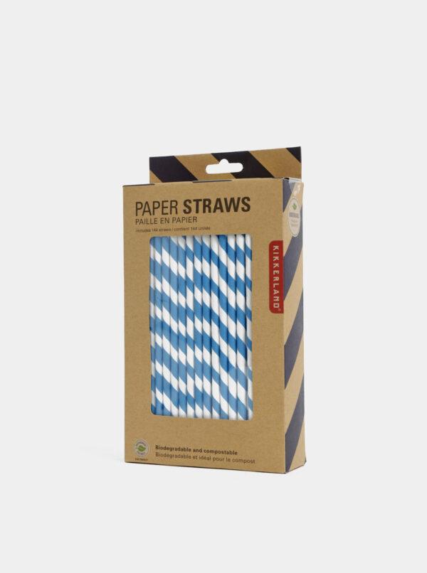 Sada bielo-modrých papierových slamiek Kikkerland