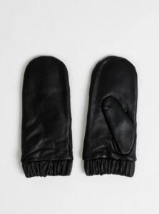 Čierne kožené palčáky ONLY Dana