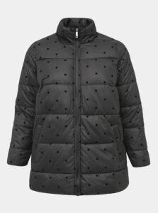 Čierna bodkovaná prešívaná zimná bunda Zizzi Dot