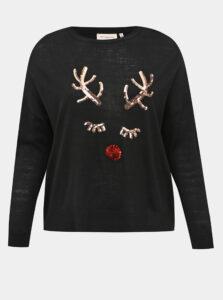 Čierny sveter s vianočným motívom ONLY CARMAKOMA Glam