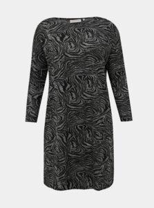 Čierno-šedé šaty so zebrovaným vzorom a pásom ONLY CARMAKOMA Alba