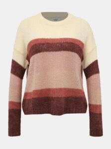 Krémovo-ružový pruhovaný sveter Jacqueline de Yong Cordelia