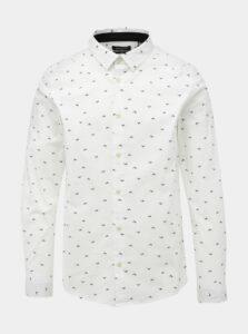 Biela vzorovaná slim fit košeľa ONLY & SONS Farso