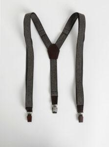 Hnedé vzorované traky s koženými a drevenými detailmi BeWooden