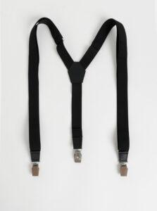 Čierne traky s koženými a drevenými detailmi BeWooden