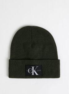 Tmavozelená čapica s prímesou vlny a kašmíru Calvin Klein Jeans