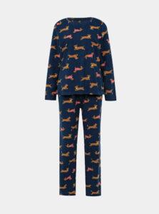 Tmavomodré vzorované dvojdielne pyžamo M&Co