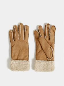 Hnedé rukavice v semišovej úprave s umelým kožúškom M&Co