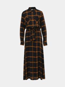 Hnedé kockované košeľové maxišaty Jacqueline de Yong