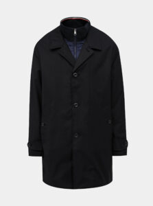 Tmavomodrý pánsky vodeodolný kabát s odnímateľným límcom Tommy Hilfiger
