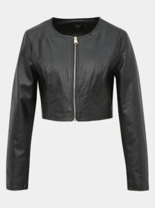 Čierna krátka koženková bunda ONLY Bolette