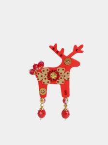 Červená veľká brošňa s kamienkami Preciosa Components Deers Audrey
