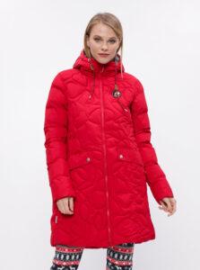 Červený dámsky prešívaný funkčný zimný kabát Maloja Praüras