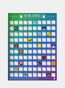 Fialový stierací plagát Gift Republic 100 dětských aktivit