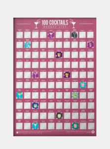 Vínový stierací plagát Gift Republic 100 koktejů
