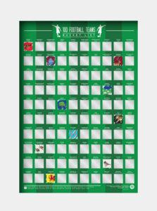 Zelený stierací plagát Gift Republic 100 fotbalových týmů