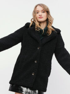 Čierny kabát z umelého kožúšku Miss Selfridge