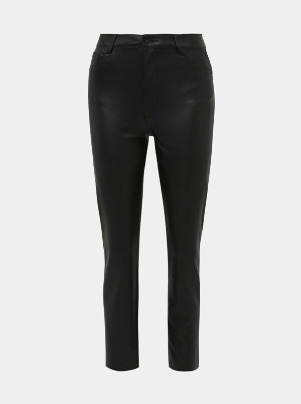 Čierne koženkové straight fit nohavice ONLY Emily